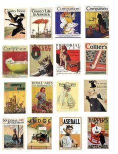 miniatur, magazine covers, magazin cover, collage art, collag sheet, vintage magazines, printabl