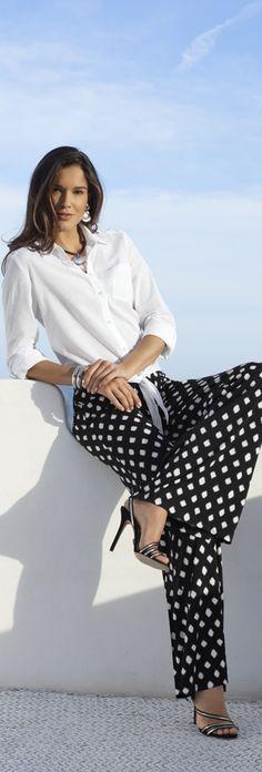 Emmy DE * Chico's Knit Kit Dots Palazzo Pant #polka #dots