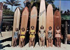 Waikiki Beach in Honolulu, Hawaii, c.1938