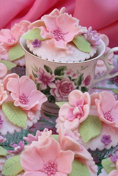 Teacup and Pink Flowers on Cupcakes
