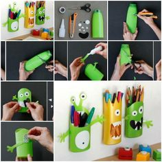 How to make Shampoo Bottle Monster Pencil Holder step by step DIY tutorial instructions, How to, how to do, diy instructions, crafts, do it yourself, diy website, art project ideas