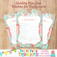 SHABBY CHIC TEA Wishes for Baby cards   by PrettyPartyCreations, $8.00