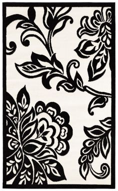 "Linon RUG-BC7057 Capri 4'3"" x 7'3"" Black & White #Linon #Transitional"