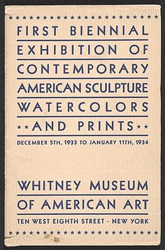 Exhibition catalog for the First Biennial exhibition of contemporary American sculpture, watercolors, and prints, ca. 1933 . Herman Trunk papers, Archives of American Art, Smithsonian Institution.