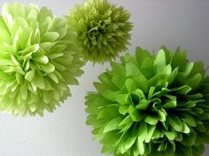 Ode to Chartreuse ... 3 tissue paper poms // diy // wedding reception // baby shower // birthday // party decorations.