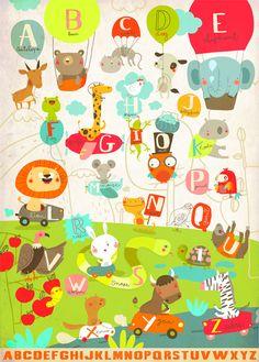 Animal alphabet poster for children - Sigrid Martinez - L'Affiche Moderne