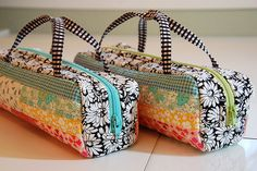 knitting needles, mini bag, diy book bag, sewed little bags, boxy zipper pencil bag