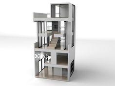 modern dollhouses, brinca dada, idea, toy, modern miniatur, dollhous size, furniture, doll houses, kid