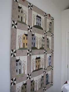 Another wall hanging - a little town with ribbon-embroidered weeping williows.