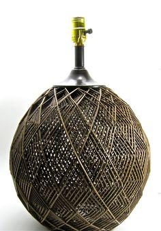 Big vintage rattan lamp