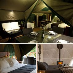 Glamour Camping - It's ridiculous, but yet I would not turn this tent setup down! houses, tent setup, outdoor living, news, camping, camps, glamour camp, homes, gears