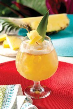 The Goombay Smash:  1 oz Dark Rum (or spiced)  1/2 oz 151 Rum (optional)  1 oz coconut rum  1/2 oz apricot brandy  2 oz pineapple juice  2 oz orange juice  Pineapple wedge  Orange slice