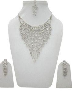 Bridal Wedding Jewelry Set Necklace Earring Crystal Rhinestone India Jewelry Gift Mogul Interior, http://www.amazon.com/dp/B009O5MROE/ref=cm_sw_r_pi_dp_E5M4qb0TZ40FS