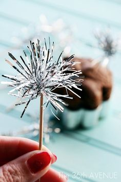 DIY Tinsel Sparklers Toppers Tutorial...so easy, cute and super inexpensive!