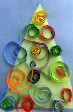 Bright and Colorful Christmas Tree Craft for kids.  #christmas crafts for kids