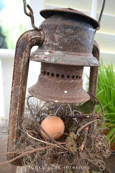 easter, bird nest, birdnest, rusti thing, nests, egg, antiqu, lanterns, garden