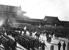 "Japanese troops next to formations of other foreign troops of the China Relief Expedition at the  ""Boxer Protocol"", 1901."