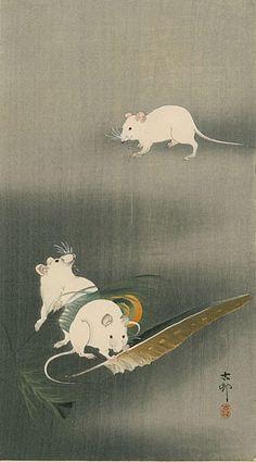 "Ohara Koson ""Three White Mice"" 1900 Japan"