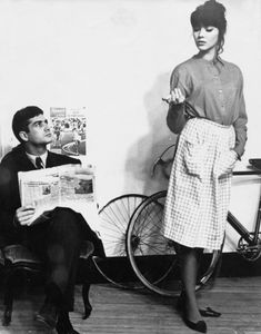 Jean Claude Brialy and Anna Karina on the set of Jean-Luc Godard's Une femme est une femme (1961)