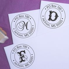 Round Initial Customized Address Stamp  by purplelemondesigns