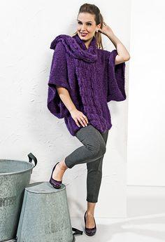 Blusa roxa manga ampla e cachecol Tierno #ModaInverno #trico #CoatsCorrente