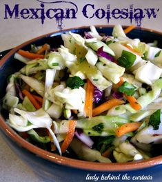 Mexican Coleslaw Recipe Ingredients 16 ounces green cabbage, shredded 1 cup carrots, shredded 1 cup purple cabbage, shredded 2 tablespoons cilantro, chopped 1/4 cup green onion, chopped 4 ounce can green chilies, chopped 1 mango, peeled, seeded and chopped 1 teaspoon salt 1/2 teaspoon pepper 3 tablespoons red wine vinegar 1 tablespoon canola oil 1 tablespoon sugar