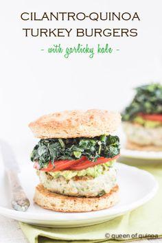 Cilantro-Quinoa Turkey Burgers via @Alyssa | Queen of Quinoa | #glutenfree #healthy | recipe on queenofquinoa.me