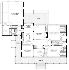 First Floor Plan of Cottage   Country   Farmhouse  Traditional   House Plan 86226. // Cool plan. I like the two-story foyer and great room (perfect for a tall christmas tree)