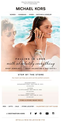 Michael Kors used real-time geo-targeting to direct subscribers to their nearest retail store in this Valentine's Day campaign. #emailmarketing #realtime #geotargeting #retail