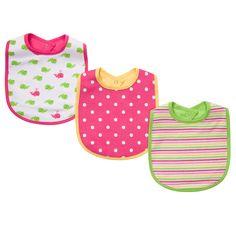 preppy baby girl's set of 3 feeding bibs. #carters #littlelayette