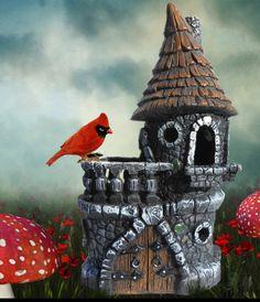 Enchanted castle fairy house in the fairy gardens.