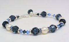 Pearl & crystal beaded bracelet