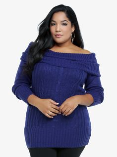 Our sexy Marilyn sweater - just plain stunning in sapphire.