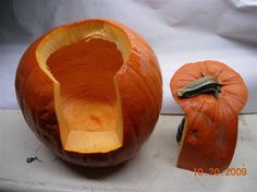 "This seems like such a ""duh"" moment, yet I've never thought about it. Good idea: A better way to carve a pumpkin. Easier to scoop out seeds and you won't burn yourself trying to get a light in there! - Click image to find more Holidays & Events Pinterest pins"