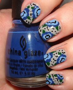 Blue and Grey Floral Nail Art
