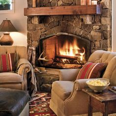 Picture yourself here after a hectic day. There's nothing more relaxing than kicking back in front of a fire to spend a few minutes reading or just daydreaming. Place a couple cozy armchairs and a blanket next to your fireplace for the ultimate in comfort.
