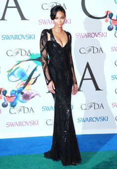 Chanel Iman in a Monique Lhuillier embroidered gown, EFFY Jewelry earrings, and a Graziela Gems ring at the #CFDA Awards // #CFDAAWARDS #redcarpet