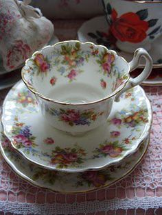 Rose Patterned Cup And Saucer