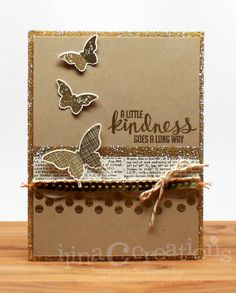 hanmade card from Creativity Within ... monochromatic kraft .,.. butterflies ... like the design ... touches of gold glitter paper in mats offers s bit of shine ... Stampin' Up!