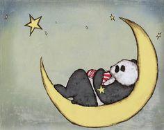 Moon Napping Children's Room Decor Boy and Panda Nursery Art Print.