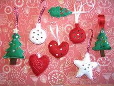 Xmas / Adornos navideños de fieltro / Décorations de Noël en feutrine
