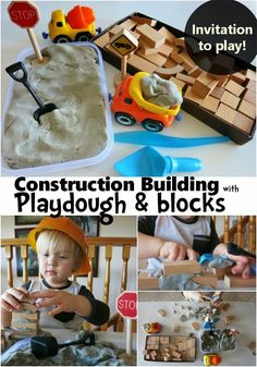 Learn with Play at Home: Bricklaying for Kids. Invitation to Play.-using playdough & blocks