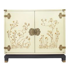 Decorative Hand Painted Gold Leaf Cabinet ca. 1960s