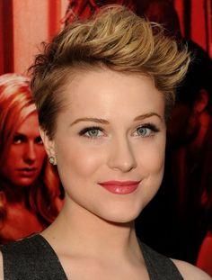Evan Rachel Wood Short Pixie Hair Style. And I like her minimalistic make up