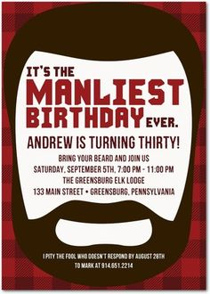 Adult Birthday Party Invitations - Manliest Beard by Tiny Prints