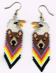 Beautiful Hand Beaded Brown Bear Bald Eagle  totem by beadfairy1, $9.00
