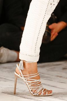 Roberto Cavalli Strappy Sandal with Tassels Spring 2014 RTW #Shoes #Heels