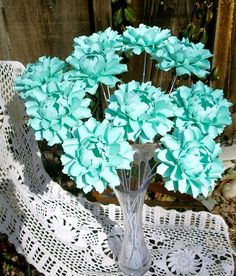 The Peony  - Handmade Paper Flower   Tiffany Blue -  by DragonflyExpression