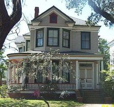 """Queen Anne Victorian, similar to one we like. """"This Queen Anne Style home has a pointed window in the gable. By the late 1800s, the fanciful details of Gothic Revival architecture had waned in popularity. Gothic Revival ideas did not die out, but they they were most frequently reserved for churches and large public buildings.    Graceful Queen Anne architecture became the popular new style, and houses built after 1880 often had rounded porches, bay windows, and other delicate details. Still, ..."""