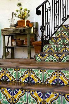 Mexican tiled stairs and iron railing